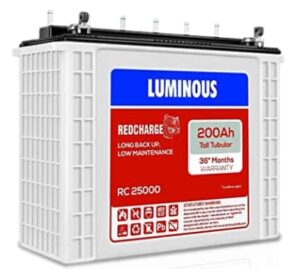 Luminous Red Charge RC 25000 200 Ah, Recyclable Tall Tubular Inverter Battery